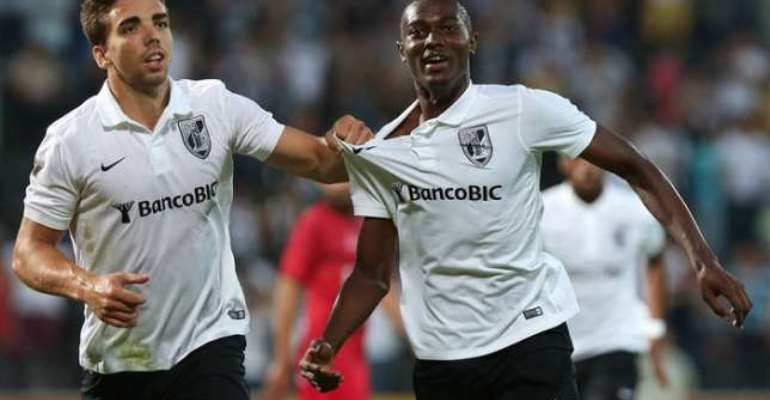 On target: Bernard Mensah eanrns point for Vitoria Guimaraes