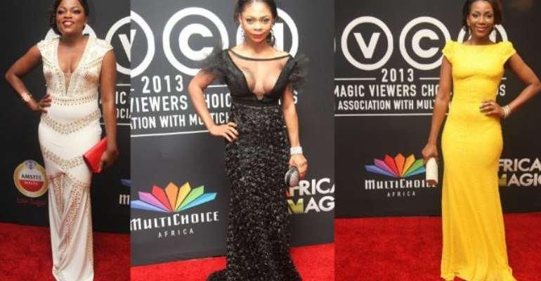 Genevieve Nnaji, Jackie Appiah, Karen Igho, Funke Akindele, stephanie okereke---Best and Worst  Dressed At The African Magic Viewers Choice Awards 2013