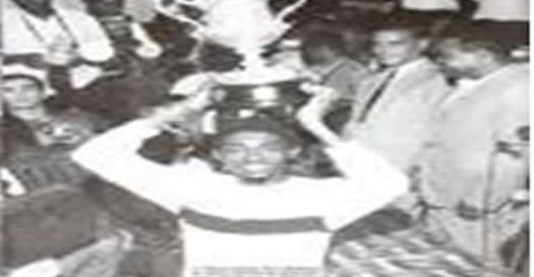 Captain Agrrey Fyn lifts the Nations Cup trophy for the first time for Ghana