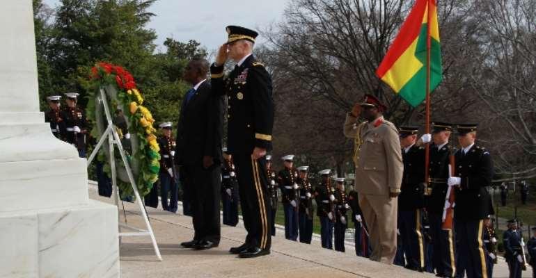 President Mills lays wreath in honour of American heroes