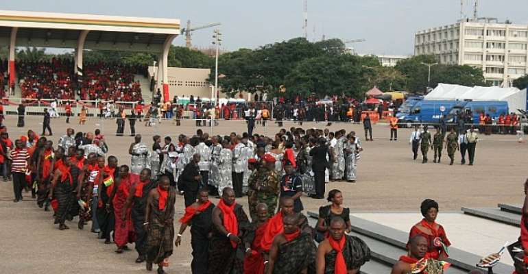 Independence Square is agog with activities for the late President Mills' burial service