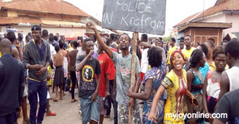 Krofrom residents protest gruesome police killing of 22-year-old