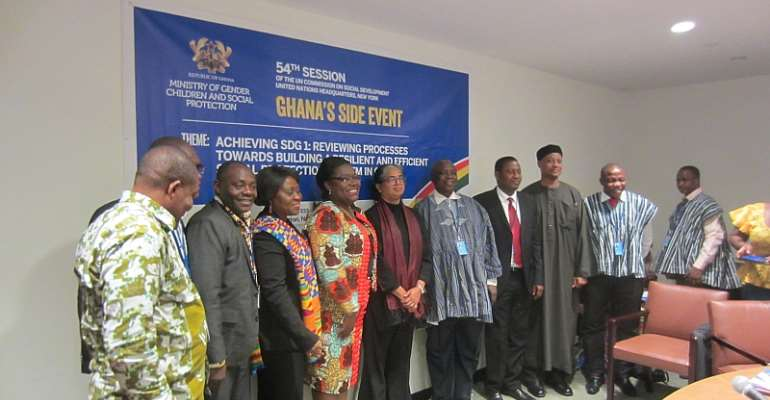 Minister for Gender, Children and Social protection, Nana Oye Lithur (4th from left) in a picture with some of  the invited guest at the event.