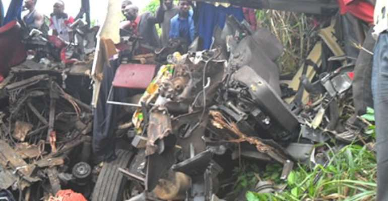 Library: Remains of a bus involved in an accident