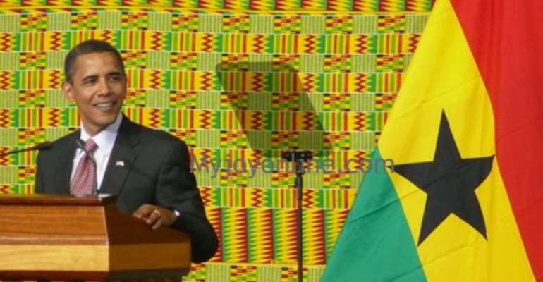 US President Barack Hussein Obama addressing the Parliament of Ghana at the Accra International Conference Centre.