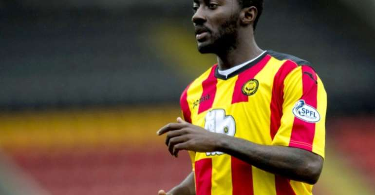Ghanaian midfielder Prince Buaben in action for Hearts in pre-season defeat
