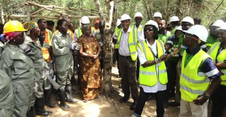 Madam Sherry Ayitey interacting with the Kyekyewere women group at the oil palm plantation site.