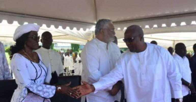 President John Mahama exchanging pleasantries with Konadu Rawlings. (beside them is Mr Rawlings)