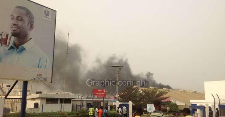 Photos & Video: Fire guts Unilever Ghana factory