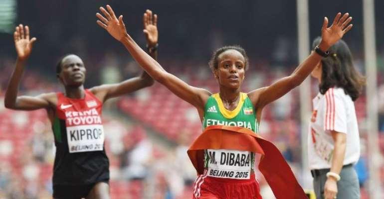 Mare Dibaba sprints to thrilling marathon win in Beijing
