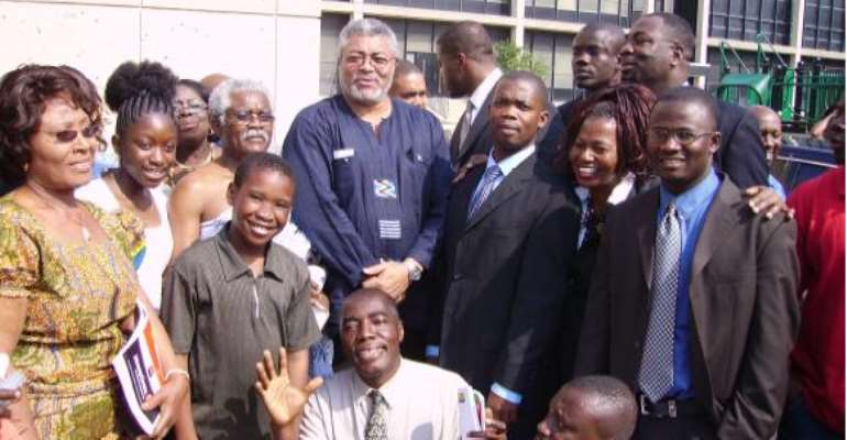 Former President Rawlings some well-wishers after the church service.This picture talks for itself that the earlier publication on Ghanaweb was false.