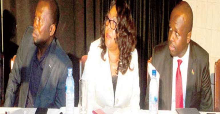 From right, Dr. Edward Omane-Boamah, Jemima Oware and Dr. Dominic Ayinie.