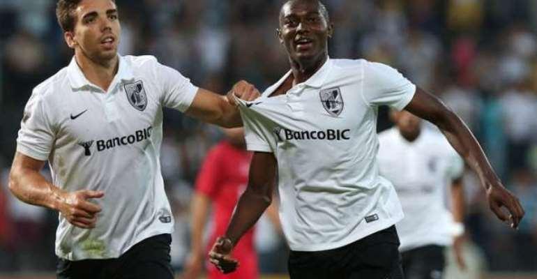 On target: Bernard Mensah earns point for Vitoria Guimaraes