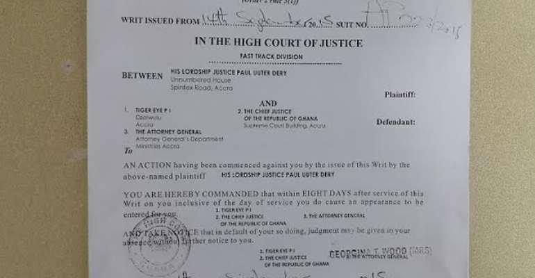 Justice Paul Dery sues Anas's Tiger Eye, A-G, CJ over judicial bribery