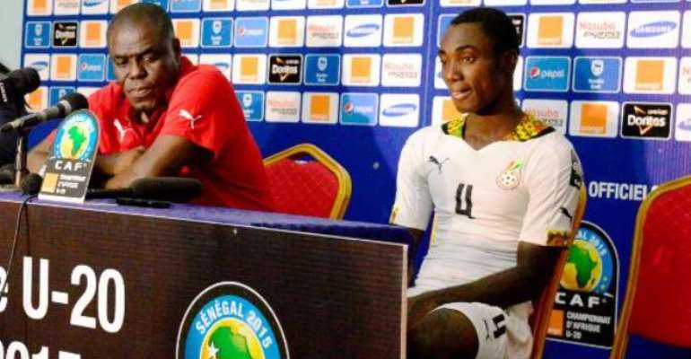 Black Satellites skipper Owusu Bempah with coach Sellas Tetteh