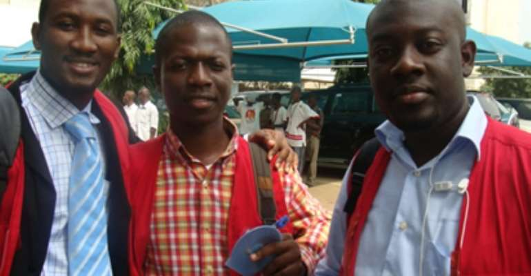 The Super Morning Show Team. (From right) Kojo Oppong-Nkrumah, host, Emmanuel Kofi Ansah and Sedem Ofori, producers