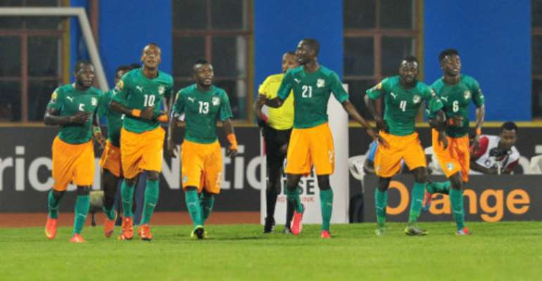 Krahire Yannick Zakri of Ivory Coast celebrates with teammates during the 2016 CHAN Rwanda, match between Morocco and Ivory Coast at the Amahoro Stadium in Kigali, Rwanda on 20 January 2016 ©Muzi Ntombela/BackpagePix