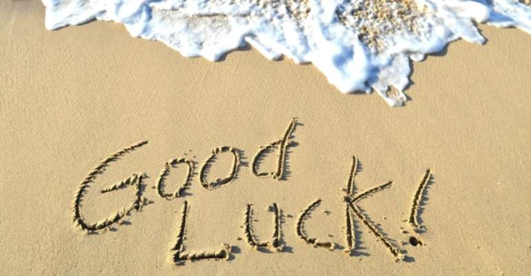 Good luck written in the sand