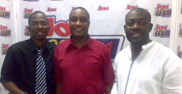 (R-L) Kojo Oppong-Nkrumah, SMS host; Papa Kow Acquaye, Head of Talk Programmes and Benjamin Adu Boahene, Coordinator of the R100 Project.