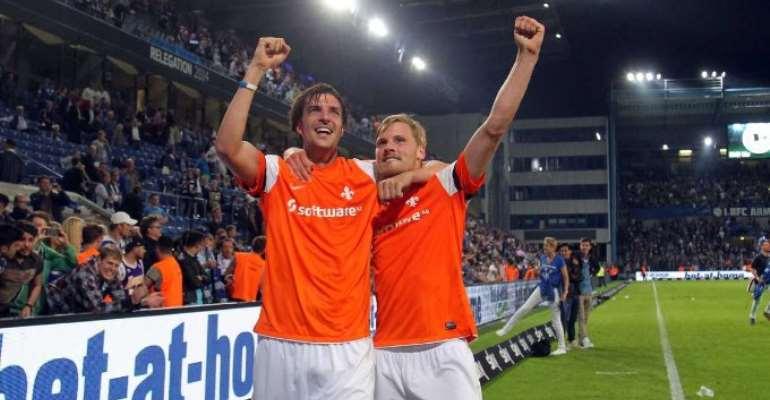 Darmstadt back to Bundesliga, Karlsruhe face playoff