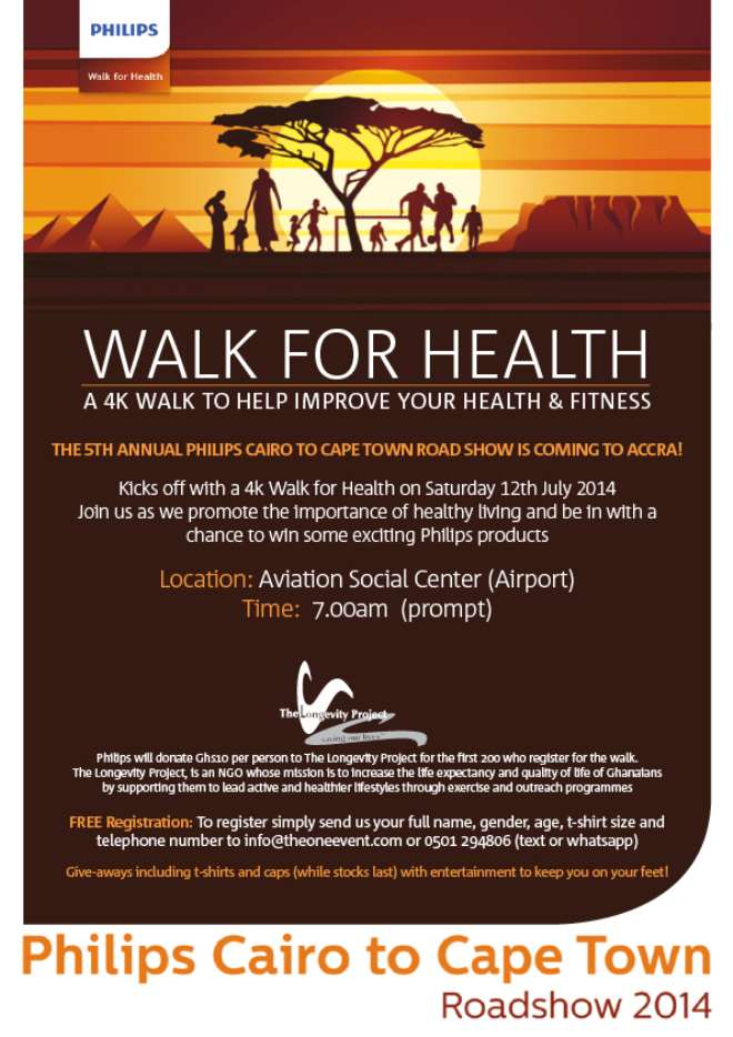 Philips Health Walk Held In Accra To Make Way For Cairo To Cape Town Roadshow