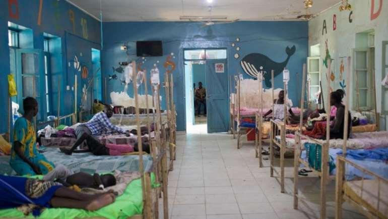 A hospital room at the Al Sabbah Children's Hospital in Juba.
