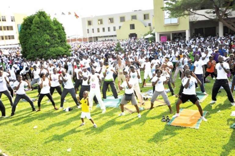 14 life walk participants undergoing aerobics at the lawn of christ temple in 2015