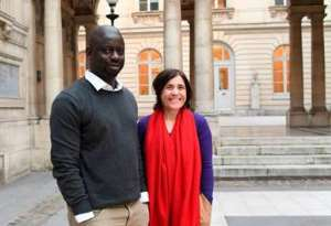 Felwine Sarr, Senegal, and Bénédicte Savoy, France, in the courtyard of Collège de France, Paris, where they prepared their famous ground-breaking report on restitution of African cultural heritage,2018. Africa is forever grateful.