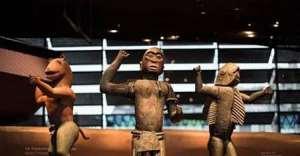 Royal statues, Dahomey, Republic of Benin, now in Musée du Quai Branly, Paris, France. Left, King Glélé, half-lion, half- man. Centre, King Ghézo, half-bird, half-man. Right, King Béhanzin, half-shark, half-man. To be returned soon to Republic of Benin.
