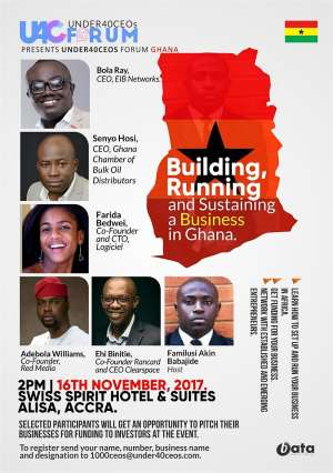 Under 40 CEOs Forum, Ghana Set To Hold On Friday, 16th November, 2017