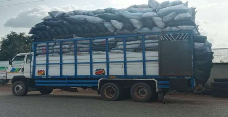 Truck loaded with shea tree processed charcoal enroot to Southern Ghana