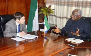 Photo: Centers for Disease Control Official with ex-Sierra Leone president Ernest Bai Koroma of Sierra Leone.