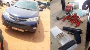 Police Intercept Unregistered Vehicle With Pistol And Ammunition