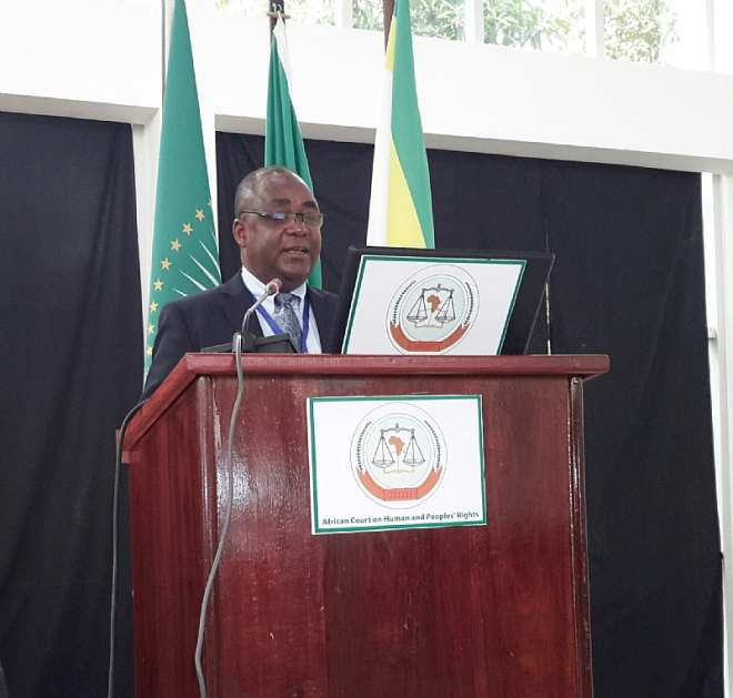 Justice Constant Kwaku Hometowu, Justice of the High Court delivering a paper at the Third African Judicial Dialogue at Arusha, Tanzania