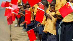 African children holding the flag of China