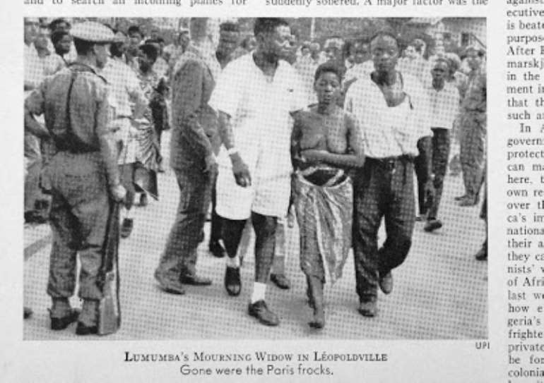 Newspaper cutting showing a photo of Pauline Lumumba walking bare-breasted in the streets of Leopoldville after the death of her husband