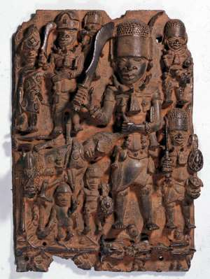 Relief panel with a battle scene, Benin, Nigeria, from Museum für Kunst and Gewerbe, Hamburg. This one of three eBenin artefacts found on research by the museum to have been looted but were not returned to Benin but rather to the Museum at Rothenbaum, former Ethnology Museum, Hamburg.
