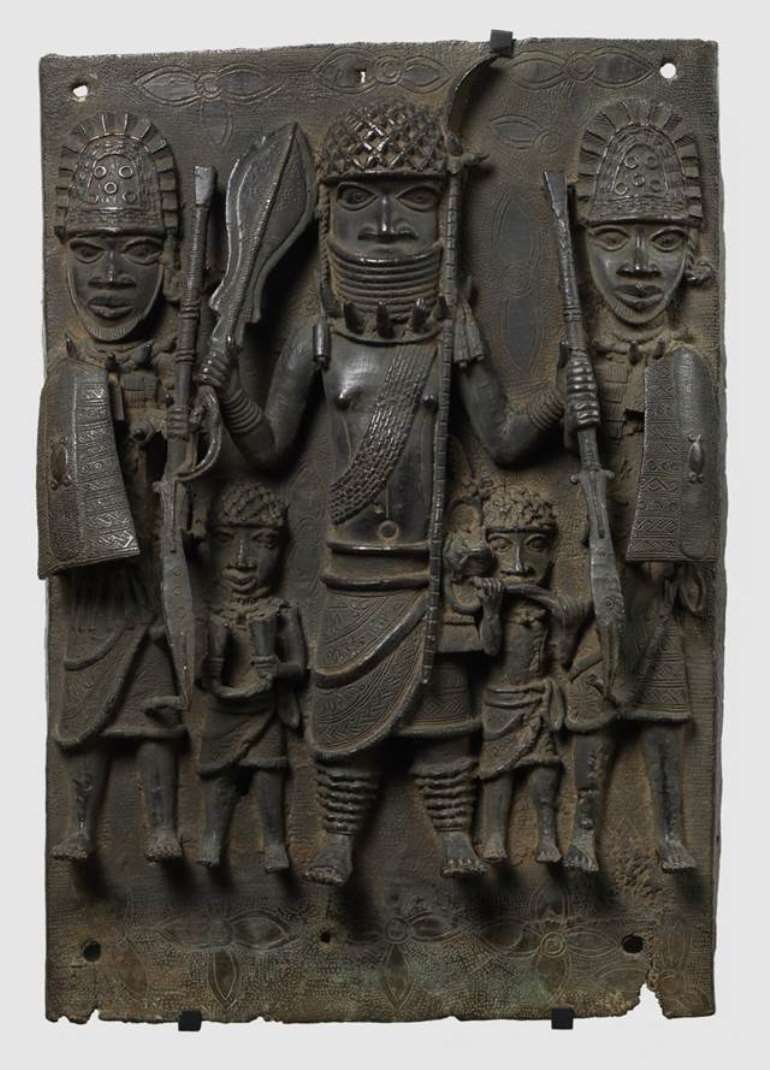 Benin plaque, Nigeria, now in Musée du Quai Branly Paris, to be restituted to Nigeria/Benin