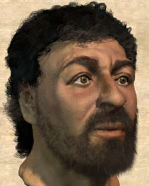 An image of Jesus created by Richard Neave, a former forensic artist from the University of Manchester, using forensic investigation methods and archaeological evidence