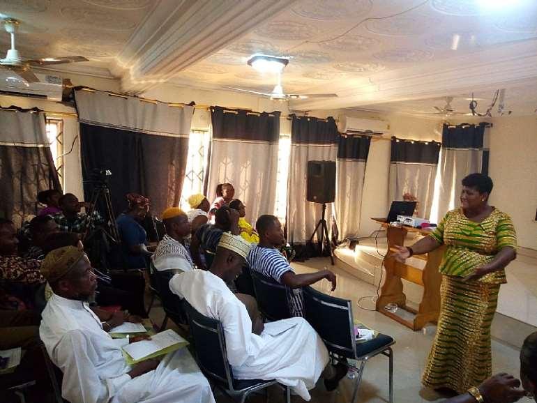 Supt. Setina Aboagye, DOVVSU Co-ordinator educating the participants on SGBV