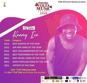 "Volta Music Awards: Keeny Ice Grabs Seven Nominations including ""Artiste of the year"""