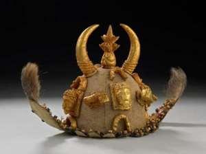 Asante gold head-dress or ceremonial hat, Kumasi, Ghana, now in British Museum, London, United Kingdom.