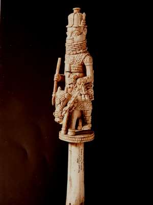 Ivory staff with Iyase, Benin, Nigeria, now in Pitt-Rivers Museum, Oxford, United Kingdom