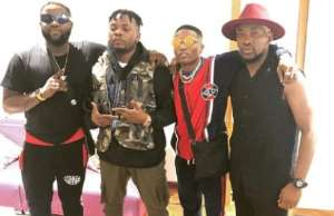 L-R Skales, Olamide, Wizkid and Dotun at Olamide's concert in Lagos on Sunday, Dec. 23.