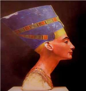 Right side of Nefertiti, Egypt, now in Neues Museum, Berlin, Germany.