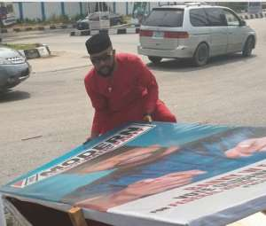 Banky W Spotted Lifting His Falling Campaign Banner