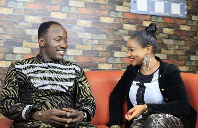 Apostle Johnson Suleiman recounts his experiences to the host Princess Halliday