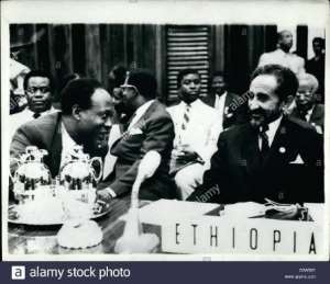 Kwame Nkrumah (left) and Emperor Haile Selassie, the man considered divine by many Rastafarians.