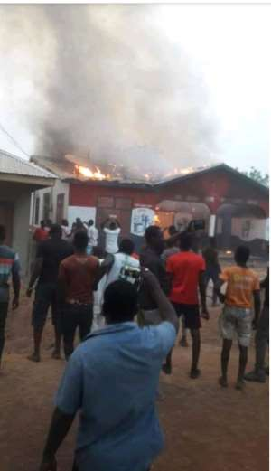 Salaga: Irate Youth Burn NPP Party Office