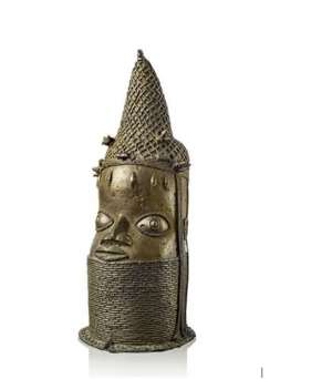 Head of an Oba, Benin Nigeria, part of Nazi-looted art, now to be auctioned.